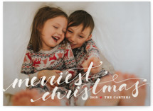 This is a white gloss press holiday card by Alston Wise called Merriest Lettering with gloss-press printing on smooth signature in standard.
