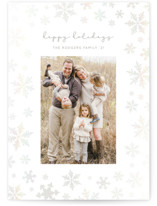 This is a white gloss press holiday card by Julee London called Snowfall with gloss-press printing on smooth signature in standard.