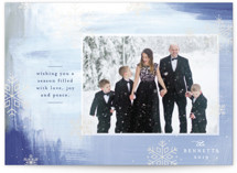 This is a blue gloss press holiday card by Mansi Verma called Winter Snow with gloss-press printing on smooth signature in standard.