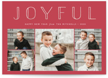 This is a red gloss press holiday card by Carolyn MacLaren called Joyful Outline with gloss-press printing on smooth signature in standard.