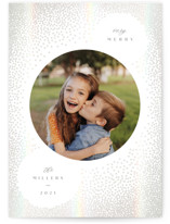 This is a white gloss press holiday card by Owl and Toad called Snow with gloss-press printing on smooth signature in standard.