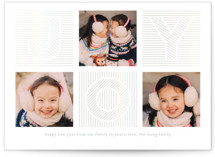 This is a grey gloss press holiday card by Kimberly Chow called Multitude of Joy with gloss-press printing on smooth signature in standard.