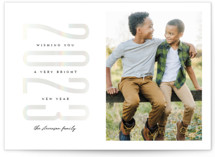This is a white gloss press holiday card by Jessica Corliss called Stacked Year with gloss-press printing on smooth signature in standard.