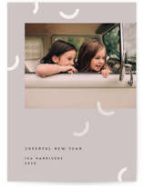 This is a grey gloss press holiday card by Sumak Studio called smiles with gloss-press printing on signature in standard.