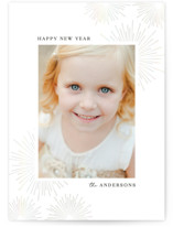 This is a grey gloss press holiday card by Anupama called Starburst with gloss-press printing on smooth signature in standard.