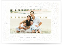 This is a white gloss press holiday card by Alethea and Ruth called Abstract Firecracker with gloss-press printing on signature in standard.