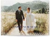 This is a blue gloss press holiday card by Paper Dahlia called beauchamps with gloss-press printing on smooth signature in standard.