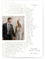 This is a white gloss press holiday card by Robert and Stella called Flurried Frame with gloss-press printing on smooth signature in standard.