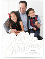 This is a white gloss press holiday card by Alethea and Ruth called Scripted Lettering with gloss-press printing on smooth signature in standard.