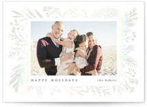 This is a white gloss press holiday card by Amy Kross called Berry Bough with gloss-press printing on smooth signature in standard.