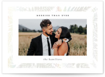 This is a white gloss press holiday card by Caitlin Considine called Merrier Than Ever with gloss-press printing on smooth signature in standard.