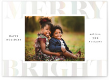 This is a white gloss press holiday card by Brooke Chandler called Merry & Bright Holiday with gloss-press printing on smooth signature in standard.