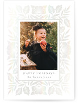This is a white gloss press holiday card by Katharine Watson called Holly Floral Frame with gloss-press printing on smooth signature in standard.