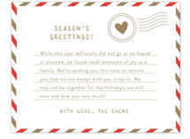 This is a red holiday enclosure card by The Social Type called Holiday Air Mail with standard printing on signature in standard.