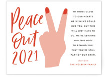 This is a red holiday enclosure card by Frooted Design called peace out with standard printing on signature in standard.