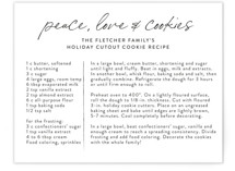 This is a white holiday enclosure card by Erika Firm called Peace Love and Cookies with standard printing on pearlescent in standard.
