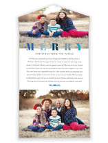 This is a blue all in one holiday card by Stacey Meacham called multi merry with standard printing on value cover in all-in-one.