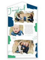 This is a blue all in one holiday card by Oscar and Emma called Brushes with standard printing on value cover in all-in-one.