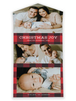 This is a red all in one holiday card by Jill Means called Plaid Tidings with standard printing on value cover in all-in-one.