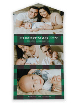 This is a green all in one holiday card by Jill Means called Plaid Tidings with standard printing on value cover in all-in-one.