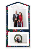 This is a blue all in one holiday card by Lea Delaveris called Plaid Framed with standard printing on value cover in all-in-one.