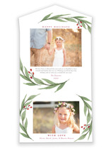 This is a white all in one holiday card by Stacey Meacham called Elegant Foliage with standard printing on value cover in all-in-one.