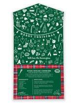 This is a green all in one holiday card by Erika Firm called A Very Plaid Christmas with standard printing on value cover in all-in-one.