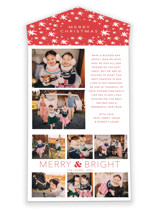 This is a red all in one holiday card by Little Print Design called Holiday Collage with standard printing on value cover in all-in-one.