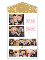 This is a yellow all in one holiday card by Little Print Design called Holiday Collage with standard printing on value cover in all-in-one.