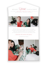 This is a red all in one holiday card by Jen Banks of Ink and Letter called Christmas Baby with standard printing on value cover in all-in-one.