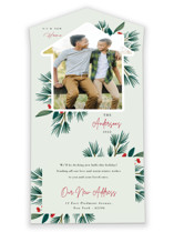 This is a green all in one holiday card by Oma N. Ramkhelawan called Joyful Home with standard printing on value cover in all-in-one.