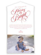 This is a red all in one holiday card by Ellis called Brightest Merry with standard printing on value cover in all-in-one.