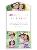 This is a colorful all in one holiday card by Lori Wemple called More cheer with standard printing on value cover in all-in-one.