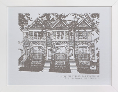 Custom House Letterpress Portrait Art Custom House Portrait Letterpress Art