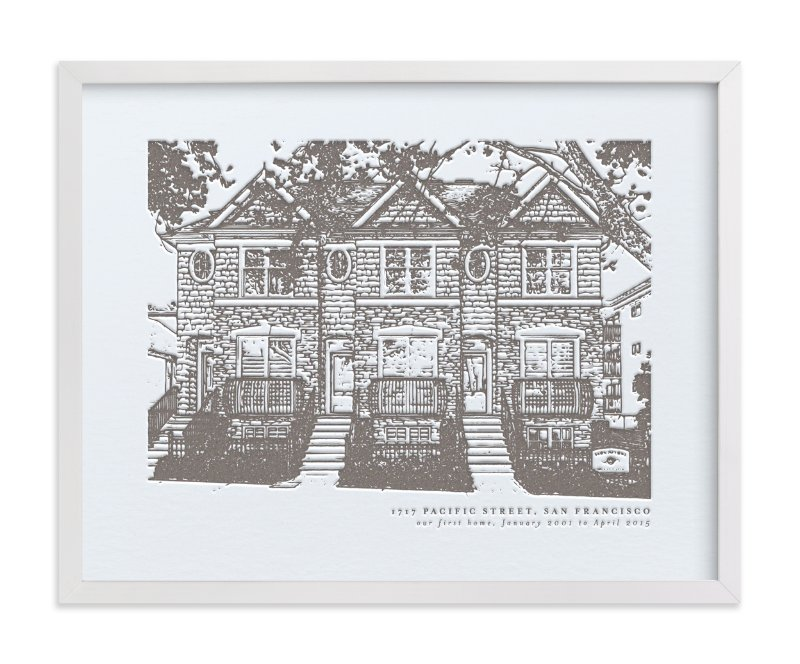 """Custom House Letterpress Portrait Art"" - House Letterpress Art by Minted in beautiful frame options and a variety of sizes."
