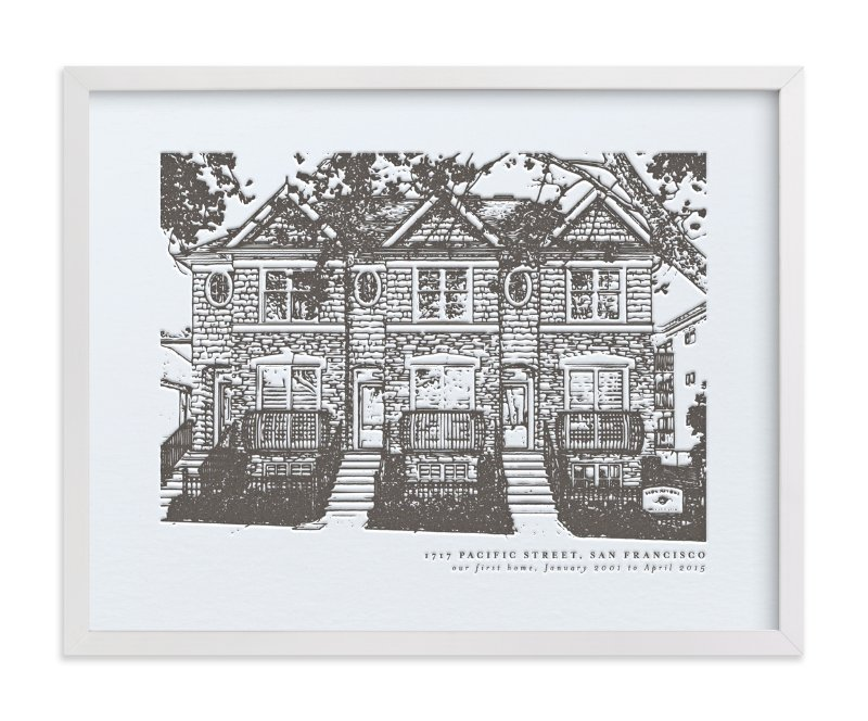 This is a black home wall art by Minted called Custom House Letterpress Portrait Art.
