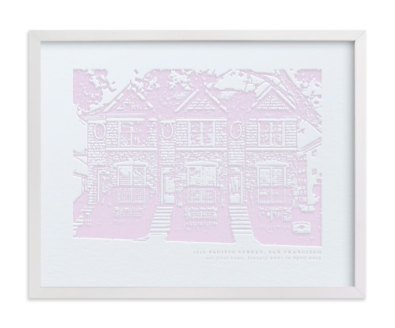 This is a purple home wall art by Minted called Custom House Letterpress Portrait Art.