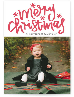 Merry Christmas Letter Letterpress Holiday Photo Cards