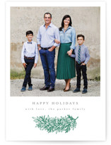This is a green letterpress holiday card by Katharine Watson called Simple Pine with letterpress printing on bright white letterpress paper in standard.