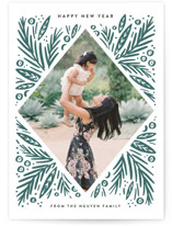 This is a green letterpress holiday card by Alethea and Ruth called Bold Diamond Pines with letterpress printing on bright white letterpress paper in standard.