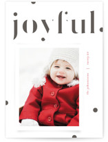 This is a black letterpress holiday card by Kristie Kern called The Joyful Edit with letterpress printing on bright white letterpress paper in standard.