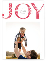 This is a red letterpress holiday card by Michelle Taylor called Detailed Joy with letterpress printing on bright white letterpress paper in standard.