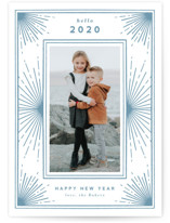 This is a blue letterpress holiday card by Cindy Reynolds called New Years Starburst with letterpress printing on bright white letterpress paper in standard.