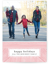 This is a red letterpress holiday card by Alethea and Ruth called Striped Gift Tag with letterpress printing on bright white letterpress paper in standard.