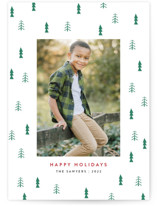 This is a green letterpress holiday card by Basil Design Studio called Holiday Tree with letterpress printing on bright white letterpress paper in standard.