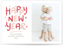 This is a pink letterpress holiday card by Mansi Verma called Colorful New Year with letterpress printing on bright white letterpress paper in standard.