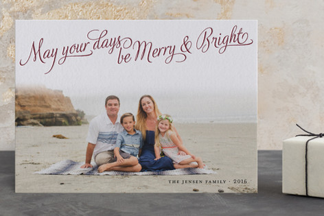 Bright Elegance Letterpress Holiday Photo Cards