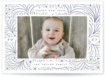 This is a blue letterpress holiday card by Alethea and Ruth called Abstract Firecracker with letterpress printing on bright white letterpress paper in standard.