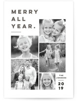This is a grey letterpress holiday card by Pink House Press called Merry All Year. with letterpress printing on bright white letterpress paper in standard.