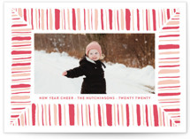 This is a pink letterpress holiday card by Lagniappe Paper called Peppermint Cheer with letterpress printing on bright white letterpress paper in standard.